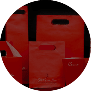 the oyster box red promotional bags in a circle