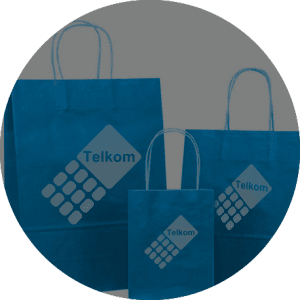 telkom blue promotional bags in a circle