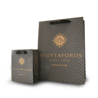 branded paper bags with petersham ribbon