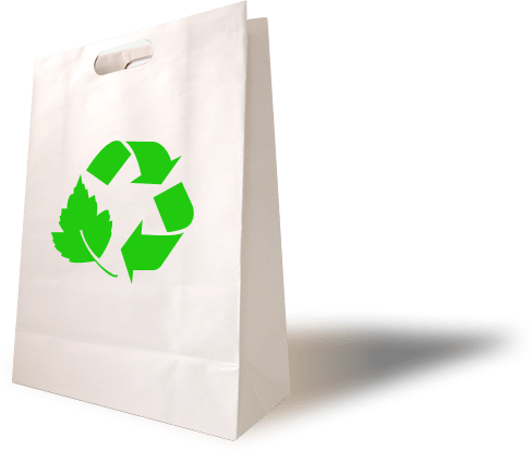 white paper bag with green recycle icon