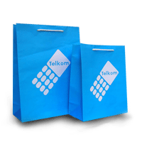 blue telkom bags with sting cord handles