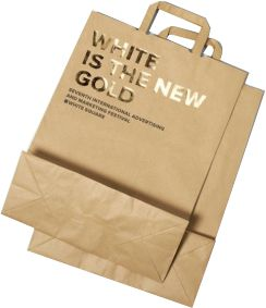brown paper bag with gold foiling
