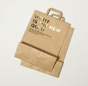 brown paper bags with gold foiling