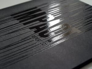 black book with print overlay