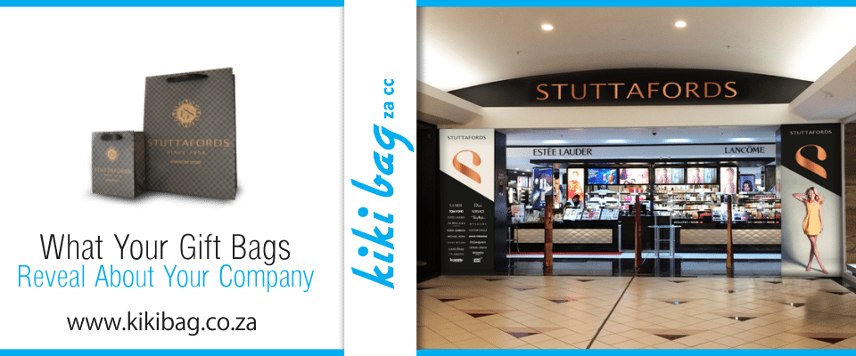 stuttafords gift bags and front view of shop