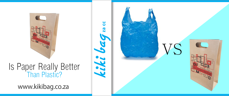 blue plastic bag and brown paper bag with abstract design