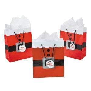 festive bags with father Christmas print
