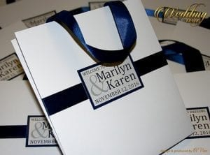 white and blue event bags