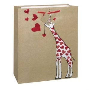 giraffe printed on brown paper bag