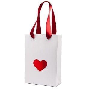 simple white gift bag with red heart