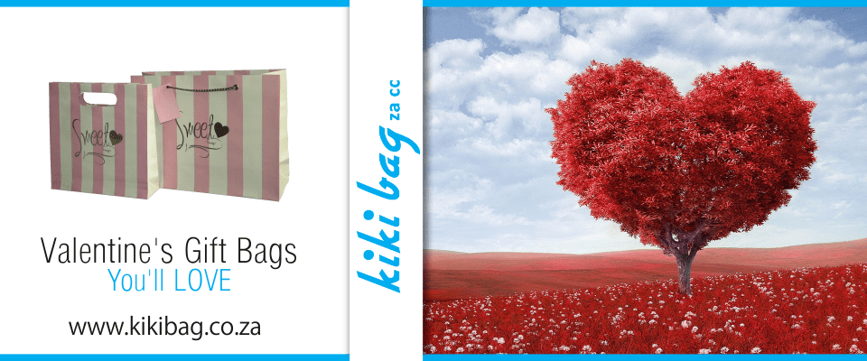 red heart tree and valentines gift bags