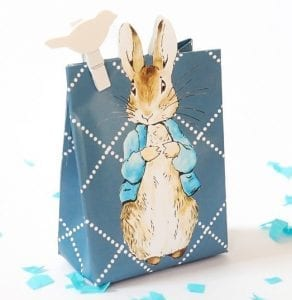 Paper Easter Bags - Blue Paper Bag Featuring Peter the Rabbit