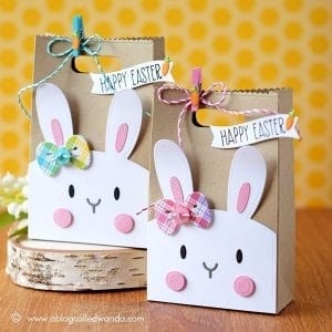 Paper Easter Bags - Two Brown Decorated Easter-Themed Paper Bags