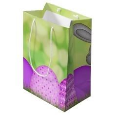 Paper Easter Bags - Green and Purple Paper Gift Bag