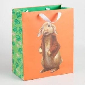 Paper Easter Bags - Green and Orange Paper Bag with Rabbit Graphic