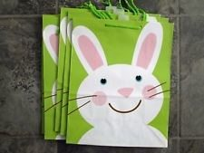 Paper Easter Bags - Green and White Easter Gift Bags