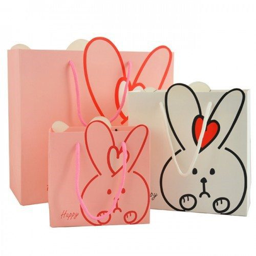 Easter Retail Bags - Pink and White Paper Bags with Bunnys