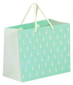 Easter Retail Bags - Mint and White Paper Bag Covered in Rabbits
