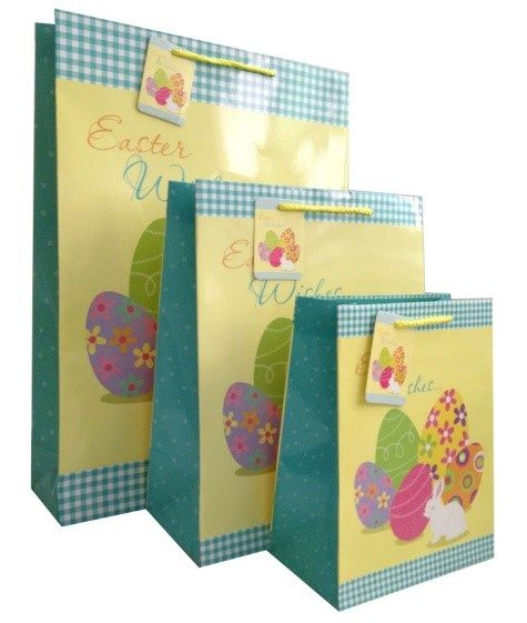 Easter Retail Bags - Three Yellow and Green Easter Themed Paper Bags